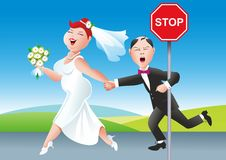 Wedding Day Comic Illustration Royalty Free Stock Photography