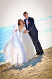 Wedding day. A couple, just married, on the seaside royalty free stock photo