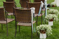 Wedding day decoration. chairs and grass Royalty Free Stock Images
