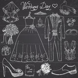 Wedding day elements. Hand drawn set with flowers candle bride dress and tuxedo suit, shoes,. Glasses for wine and festive attributes. Drawing doodle collection stock illustration