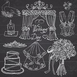 Wedding day elements. Hand drawn set with flowers, candle, glasses  and festive attributes. Stock Image
