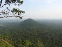 Ruins of the Royal Palace on top of lion rock, Sigiriya, Sri Lanka, UNESCO world heritage Site stock photography