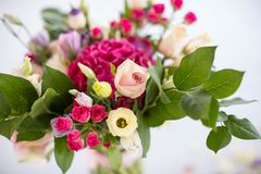 Wedding day flowers  on white. Wedding Background Decoration with Beautiful Bouquet  of Roses Royalty Free Stock Photos