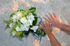 Wedding day hands on beach Royalty Free Stock Photography