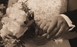 Wedding Day hands, rings and bouquet Royalty Free Stock Images