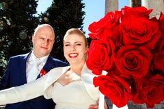 Wedding day happy couple. Wedding. Wedding day happy couple. Close up of a nice young wedding couple Stock Image