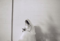Wedding day HD. Beautiful blonde bride enjoys her wedding day in the summer Royalty Free Stock Images