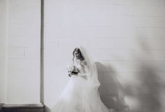 Wedding day HD. Beautiful blonde bride enjoys her wedding day in the summer Royalty Free Stock Image