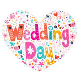 Wedding Day heart shaped lettering design Stock Photography