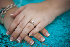 Wedding Day holding hands Royalty Free Stock Image