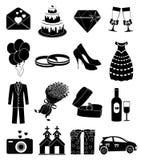 Wedding day icons set Royalty Free Stock Photos