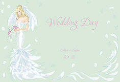 Wedding Day invitation. With beautiful fiancee hand drawn illustration Royalty Free Stock Photos