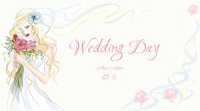 Wedding Day invitation. With beautiful fiancee hand drawn illustration Stock Photo