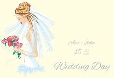 Wedding Day invitation with beautiful fiancee. Hand drawn illustration Royalty Free Stock Images