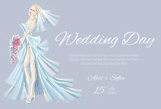 Wedding Day invitation with beautiful fiancee Stock Photography