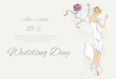 Wedding Day invitation with beautiful fiancee. Hand drawn illustration Stock Image