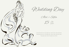 Wedding Day invitation with beautiful fiancee. Hand drawn illustration Royalty Free Stock Image