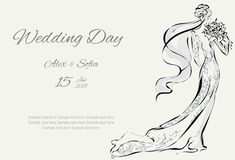 Wedding Day invitation with beautiful fiancee. Hand drawn illustration Stock Photography