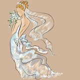 Wedding Day invitation with beautiful fiancee Royalty Free Stock Photo