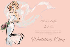 Wedding Day invitation with beautiful fiancee. Hand drawn illustration Royalty Free Stock Photography