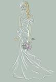 Wedding Day invitation with beautiful fiancee Stock Photo
