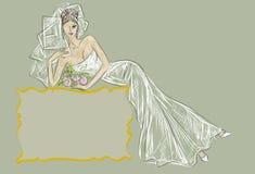 Wedding Day invitation with beautiful fiancee Stock Image