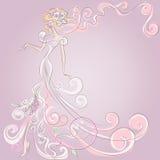 Wedding Day invitation with beautiful fiancee Royalty Free Stock Image