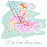 Wedding Day invitation with beautiful fiancee on a swing. Hand drawn  illustration Royalty Free Stock Images