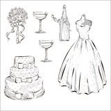 Wedding Day invitation set with wedding cake, champagne bottle, stemwares and white dres Stock Image