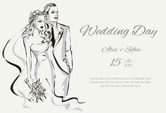 Wedding Day invitation with sweet couple Stock Photography