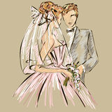 Wedding Day invitation with sweet couple Royalty Free Stock Images