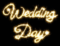 Wedding Day lettering made of sparkler Royalty Free Stock Photo