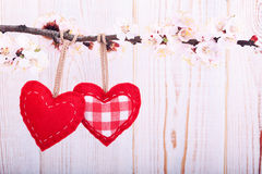Wedding day love beautiful. Heart hanging on Stock Photography