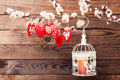 Wedding day love beautiful. Heart hanging on Royalty Free Stock Image