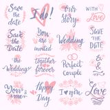 Wedding Day marriage phrases text lettering invitation calligraphy handdrawn greeting love logo romantic vector Royalty Free Stock Image