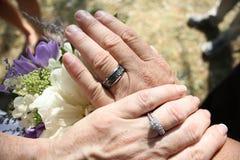 Wedding Day. Newlyweds wedding day shot of rings Royalty Free Stock Photography