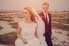 Wedding day in odessa. Beautiful blonde couple celebrate their wedding day Stock Photography