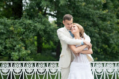 Wedding day outdoor. Happy bride and groom, love, tenderness. Stock Images