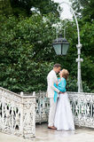 Wedding day outdoor. Happy bride and groom, love, tenderness. Stock Photo