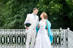 Wedding day outdoor. Happy bride and groom, love, tenderness. Royalty Free Stock Photos