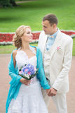 Wedding day outdoor. Happy bride and groom, love. Stock Photo