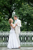 Wedding day outdoor. Happy bride and groom, love. Royalty Free Stock Photos