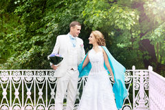Wedding day outdoor. Happy bride and groom, love. Royalty Free Stock Images
