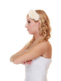 Wedding day. pensive thoughtful bride portrait Stock Photo