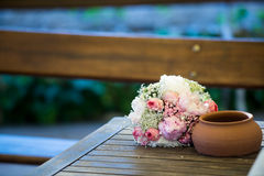 Wedding day. Pink and white royalty free stock photo