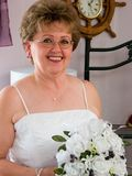 Wedding Day Portrait. A portrait of a middle aged bride on her wedding day stock photo