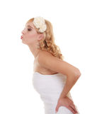 Wedding day. Portrait happy bride kissing. Wedding day. Portrait of happy bride sending kiss kissing isolated on white. woman expressing her tender feelings Stock Image