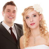 Wedding day. Portrait happy couple bride and groom Royalty Free Stock Photo