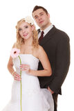 Wedding day. Portrait happy couple bride and groom Stock Photo
