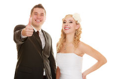 Wedding day. Portrait happy couple bride and groom Stock Photography